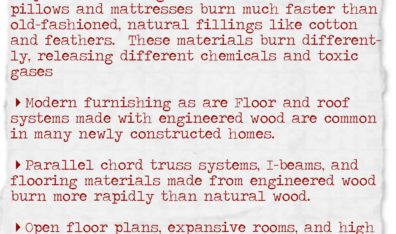 Building materials and furnishings in the modern home have increased the dangers of fires